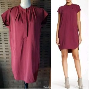 Vince Popover Cap Sleeve Shift shirt Pocket Dress